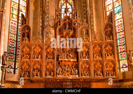 the altar, carved by Hans Brüggemann from 1514 to 1521 inside the Schleswig Cathedral, - Stock Photo