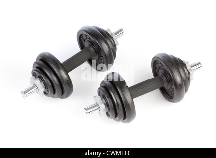 dumbbell weights made of cast iron - Stock Photo