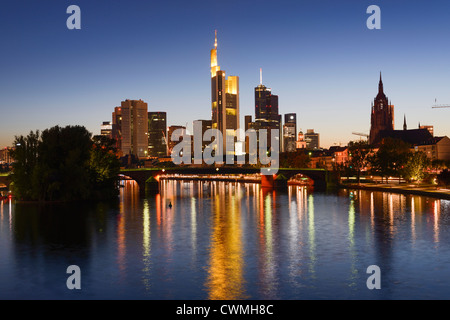 Frankfurt Skyline at Dusk, Frankfurt am Main, Germany, Europe - Stock Photo