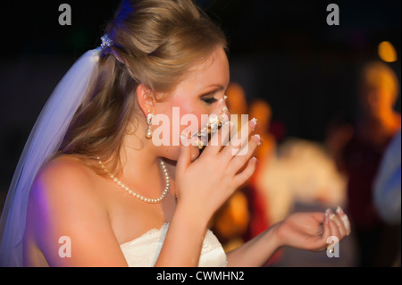 Bride and groom smearing each others faces with icing during a traditional cake cutting ceremony at their American - Stock Photo