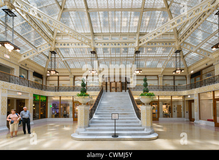Frank Lloyd Wright designed lobby of The Rookery building on La Salle Street in the Loop district, Chicago, Illinois, - Stock Photo