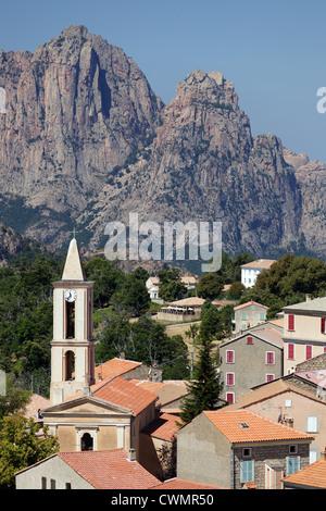 Evisa French mountain village in Corsica island. - Stock Photo