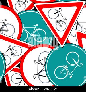 bike traffic signs pattern, abstract seamless texture; vector art illustration - Stock Photo