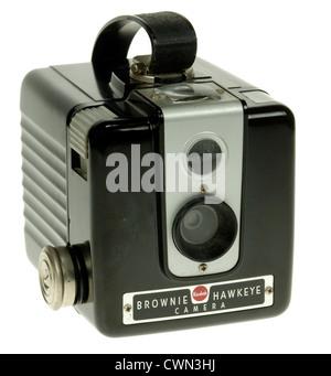 Kodak Brownie Hawkeye  Camera  - plastic box camera for 620 roll film. - Stock Photo