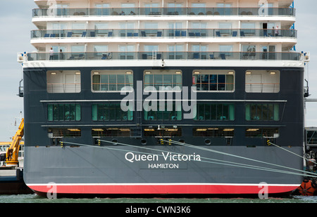 Cunard liner 'Queen Victoria' berthed at berth 101. Western Docks, Port of Southampton, Southampton, Hampshire, - Stock Photo