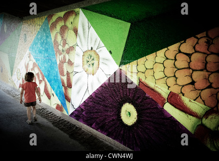 Child in an underpass Nagold Baden-Wuerttember Germany - Stock Photo