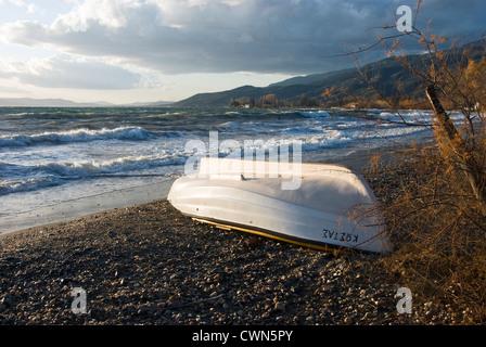 Boat on a beach (Pelion Peninsula, Thessaly, Greece) - Stock Photo