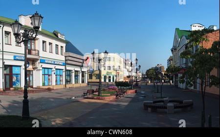Pedestrian street in the city Brest. - Stock Photo