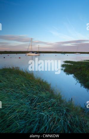 River Axe Estuary at high tide. Near Uphill, Somerset. England. UK. - Stock Photo