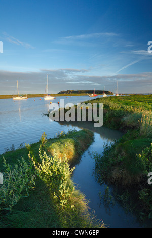 River Axe Estuary at high tide with Brean Down in the distance. Near Uphill, Somerset. England. UK. - Stock Photo