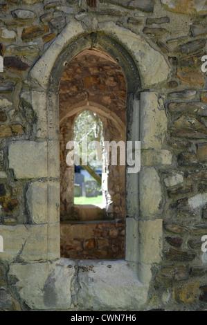 St Mildred's Church porch window, Tenterden, Kent - Stock Photo