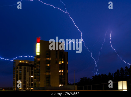 Dark clouds in the sky preceding a heavy thunderstorm in Espoo, Finland Stock Photo