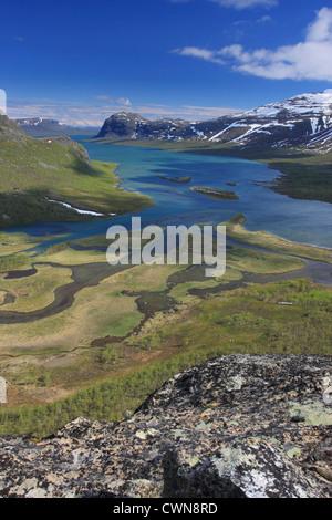 Beautiful view of a lake at Sarek National Park, Sweden - Stock Photo