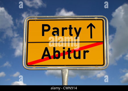German road sign graduation and party with blue sky and white clouds - Stock Photo