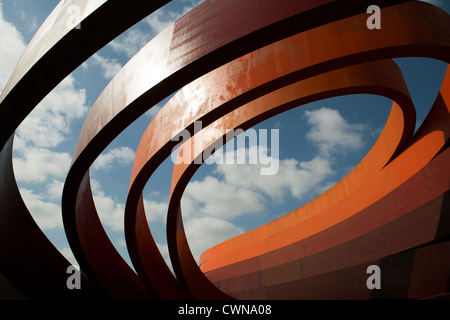 Building of the Design Museum in Holon, Israel View at the entrance towards the sky. Architecture by Ron Arad. - Stock Photo