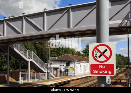No smoking sign on Network Rail railway station platform in Kent, England, UK, Britain - Stock Photo