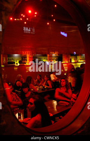 People sitting at the trendy Congo Bar in Palermo Soho, Buenos Aires, Argentina.