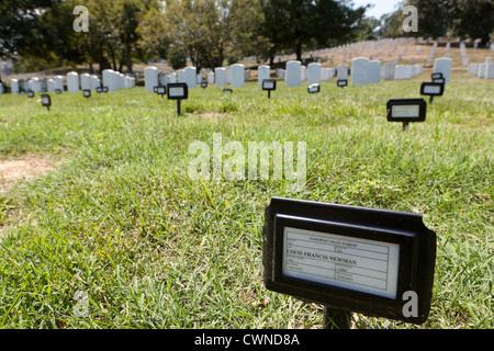 Temporary grave markers at Arlington National Cemetery - Washington, DC USA - Stock Photo