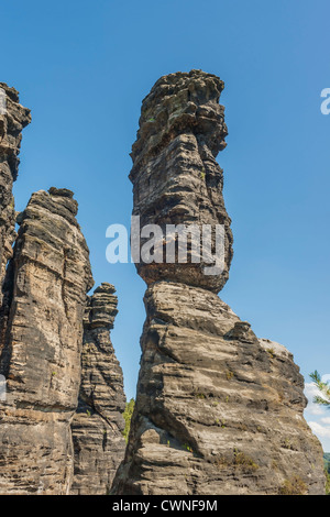 One of the pillars of Hercules, free-standing rock towers, Rosenthal Bielatal, near Dresden, Saxon Switzerland, - Stock Photo