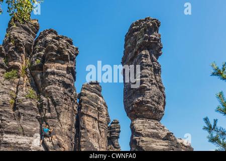 One of the pillars of Hercules, free-standing rock towers, Rosenthal Bielatal, near Dresden, Saxon Switzerland, - Stock Photo