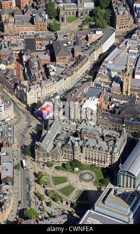 aerial view of Sheffield Town Hall & Peace Gardens, Sheffield, South Yorkshire, UK - Stock Photo