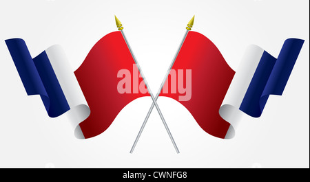 Isolated Twin French flags waving on white - Stock Photo