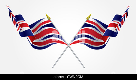 Isolated Twin United Kingdom flags waving on white - Stock Photo