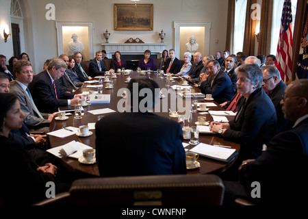President Barack Obama and others listen as Chief of Staff Jack Lew, center, speaks during a Cabinet meeting in - Stock Photo