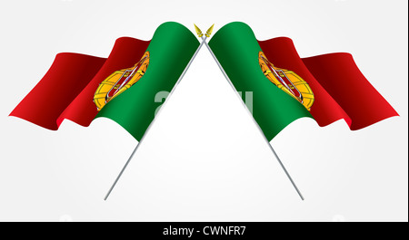Isolated Twin Portugal flags waving on white - Stock Photo