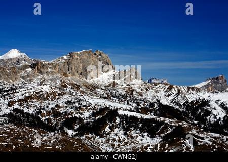 Massive limestone cliffs from Corvara DolomitesItaly - Stock Photo