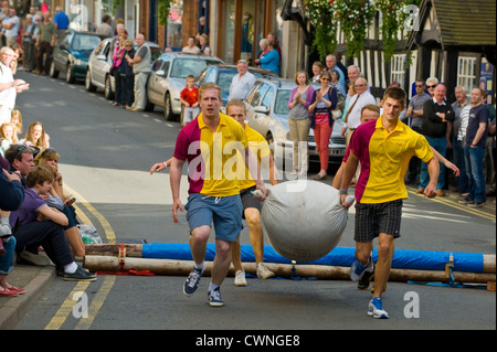 Local men's team taking part in the annual World Championship Hop Pocket Race at Bromyard Herefordshire England - Stock Photo