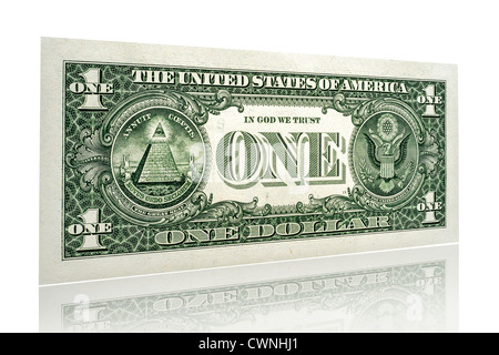 One-dollar bill, single one dollar banknote, back side, isolated on 100% white background - Stock Photo