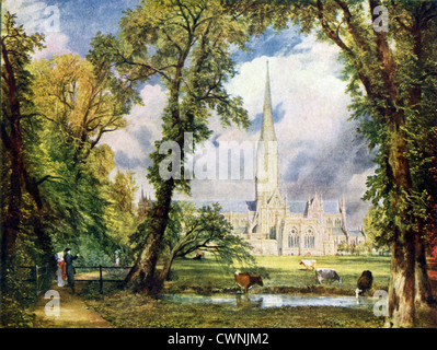 John Constable, an English Romantic painter, painted this sketch, titled 'Salisbury Cathedral from the Bishop's - Stock Photo