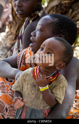 The Hadza, or Hadzabe, are an ethnic group in north-central Tanzania, living around Lake Eyasi in the central Rift - Stock Photo