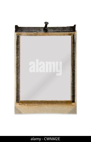 Empty polaroid frame, with pin, isolated on 100% white background - Stock Photo