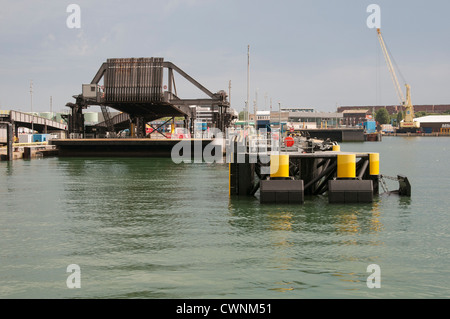 Continental Ferryport linkspan for RoRo ferries Portsmouth Harbour England UK - Stock Photo