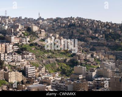 Panorama of houses in Amman Jordan seen from the citadel - Stock Photo
