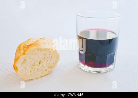 Bread and wine. - Stock Photo