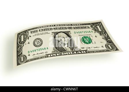 One-dollar-bill, floating dollar, 1 Dollar, dollar bill, isolated on white background - Stock Photo