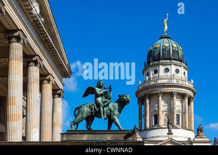 Berlin, Konzerthaus and Franzosischer Dom (French Cathedral), Gendarmenmarkt - Stock Photo