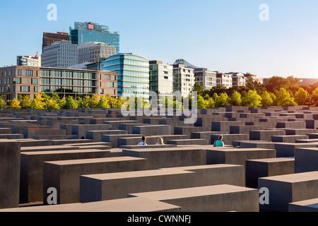 Europe, Germany, Berlin, Holocaust Memorial in Berlin - Stock Photo