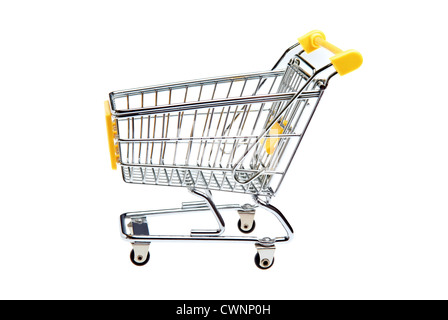 Miniature shopping trolley, isolated on 100% white background - Stock Photo