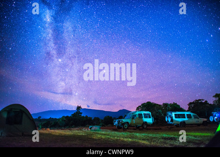 NGORONGORO CONSERVATIONAL AREA, Tanzania - A clear night sky with stars and the milky way clearly visible from the - Stock Photo
