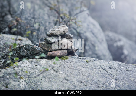 Stone still life. Soft blue tint. - Stock Photo