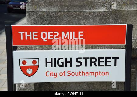Street sign on High Street, Southampton, Hampshire, England, United Kingdom - Stock Photo