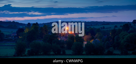 Beacon lit on church tower of St Mary's Church to celebrate Queen's Diamond Jubilee at Swinbrook in The Cotswolds, - Stock Photo