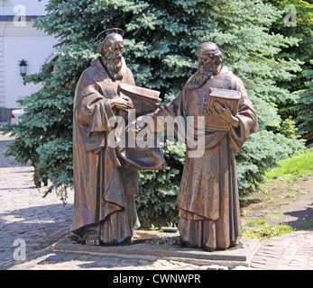 Ukraine. Kiev. Kiev-Pechersk Lavra. Monument to Cyril and Methodius - Stock Photo