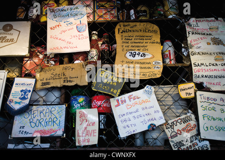 Iceland, hand written signs advertising products in market - Stock Photo