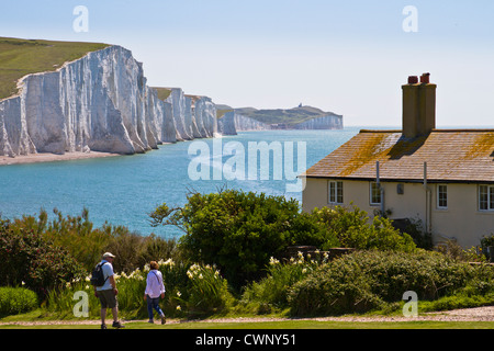 Seven Sisters  cliffs and coastguard cottages - Stock Photo