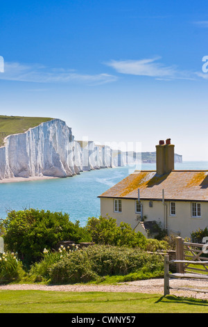 The Seven Sisters  cliffs and coastguard cottages, near Newhaven England. - Stock Photo